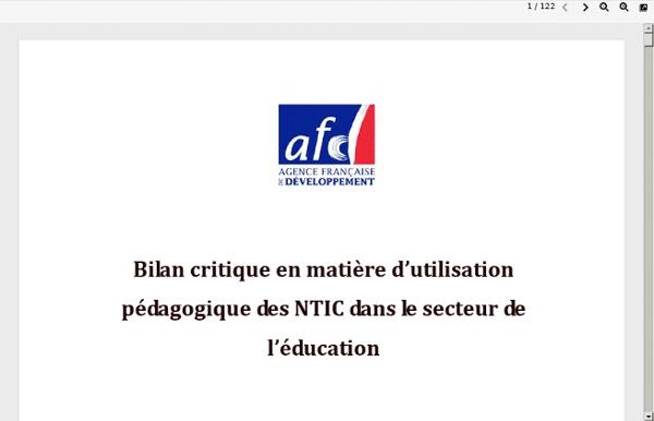 Rapport final - Bilan en matière dutilisation pédagogique des NTIC dans le secteur de léducation