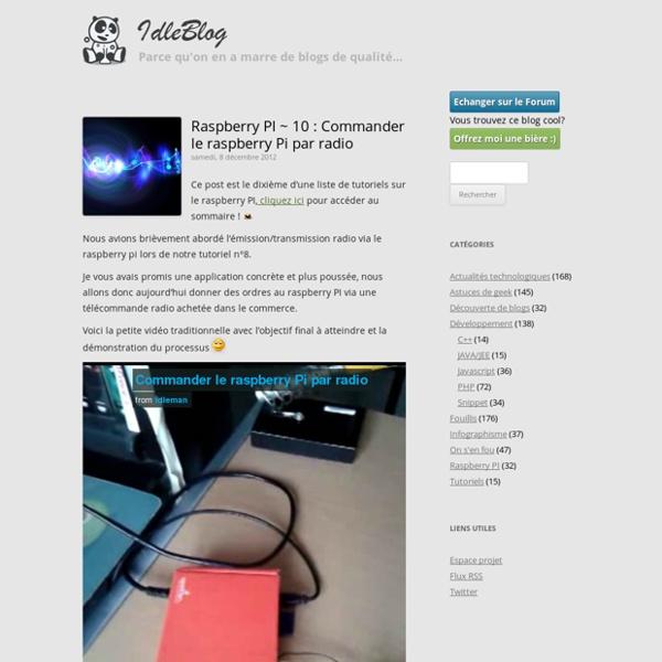10 : Commander le raspberry Pi par radio