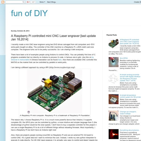 A Raspberry Pi controlled mini CNC Laser engraver [last update Jan 18,2014]