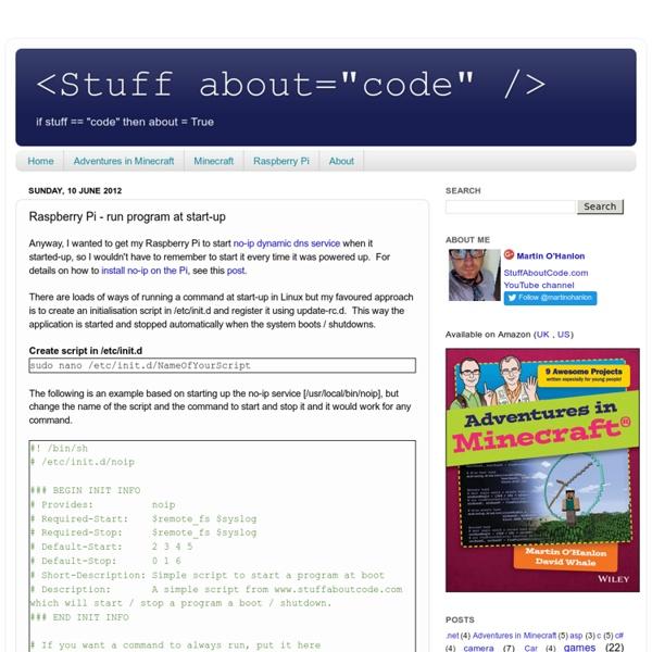 Raspberry Pi - run program at start-up