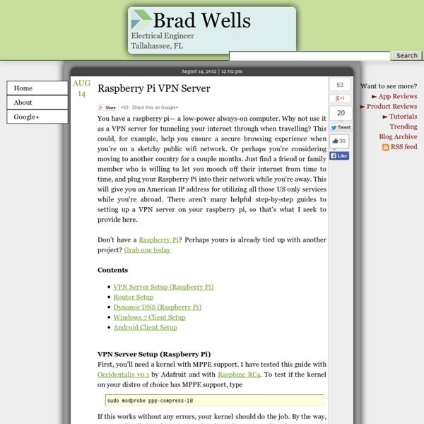 Raspberry Pi VPN Server - Brad Wells