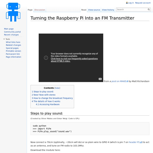 Turning the Raspberry Pi Into an FM Transmitter - Imperial College Robotics Society Wiki