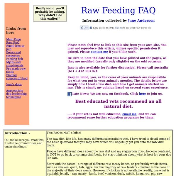 Raw Feeding FAQ