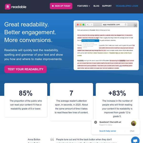 Readability-Score.com - Free Online Readability Calculator - Flesch Kincaid, Gunning Fog and more ...