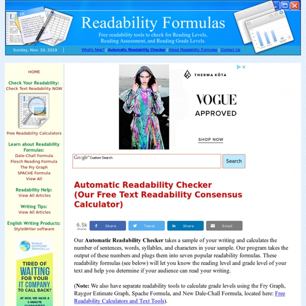 FREE READABILITY FORMULAS TOOLS : FREE READABILITY TESTS FOR YOUR TEXT