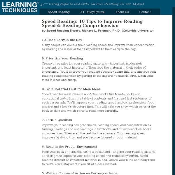 Speed Reading – 10 Tips to Improve Reading Speed & Comprehension