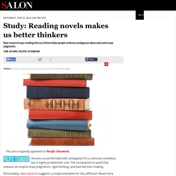 Study: Reading novels makes us better thinkers