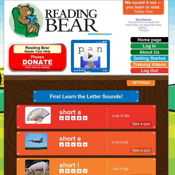 Reading Bear: free phonics & vocabulary...learn to read for free!