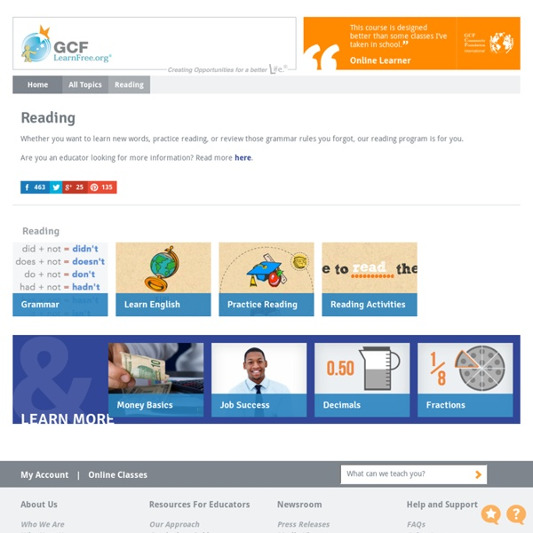 Free Reading Tutorials at GCFLearnFree