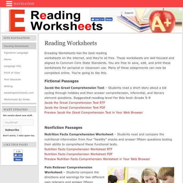 Free Reading Worksheets  Pearltrees