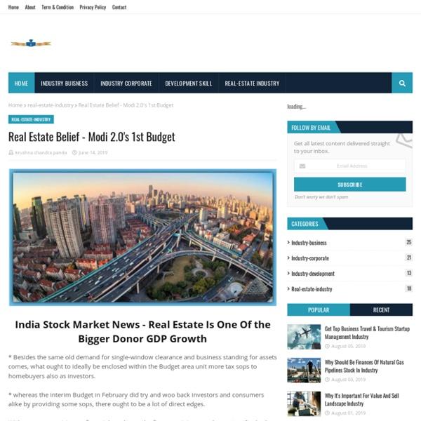 Real Estate Belief - Modi 2.0's 1st Budget