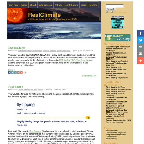 RealClimate: Recent global warming trends: significant or paused or what?