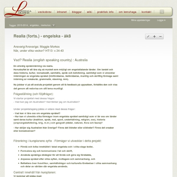 Realia (forts.) - engelska - åk8