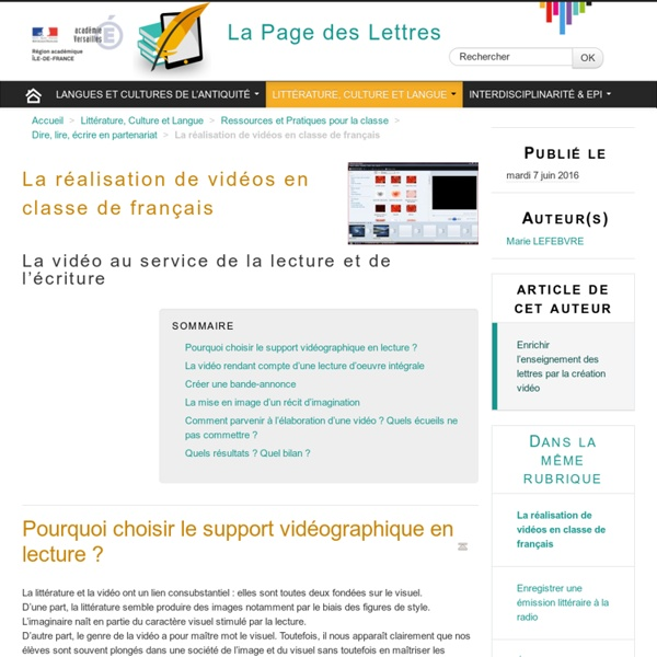 La réalisation de vidéos en classe de français