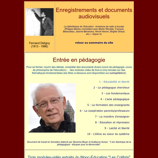 Site de Philippe Meirieu : réalisations audiovisuelles