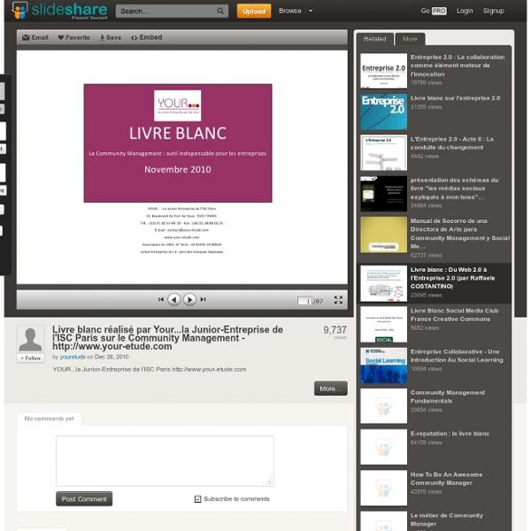 Livre blanc réalisé par Your...la Junior-Entreprise de l'ISC Paris sur le Community Management