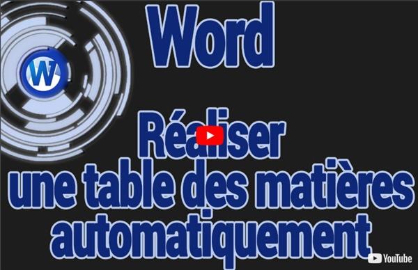 Réaliser une table des matière automatique (Microsoft Word)