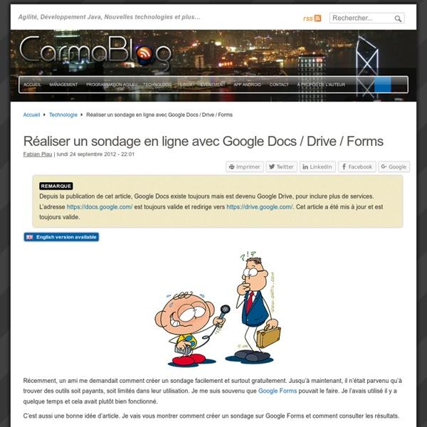 Réaliser un sondage en ligne avec Google Docs / Drive / Forms