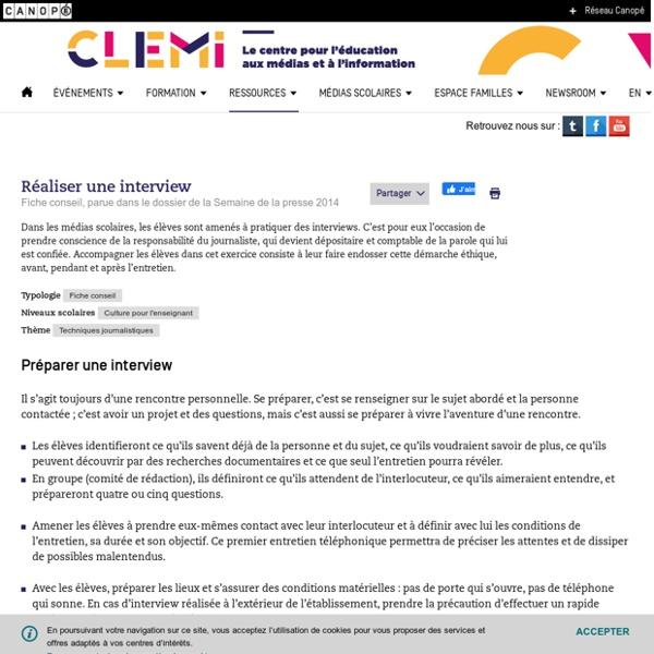 Réaliser une interview- CLEMI