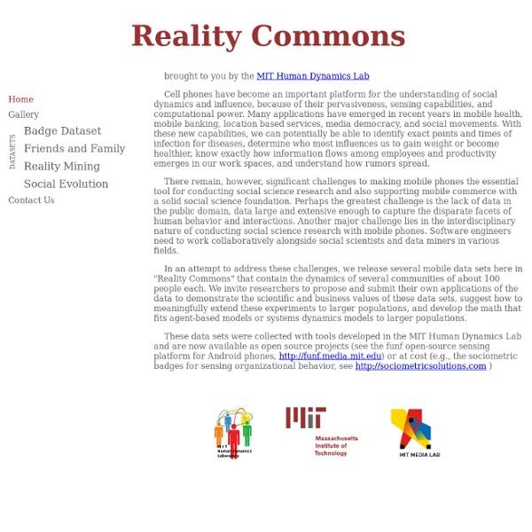 MIT Media Lab: Reality Mining