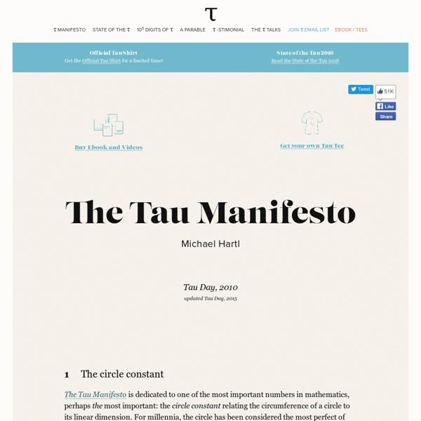 No, really, pi is wrong: The Tau Manifesto by Michael Hartl