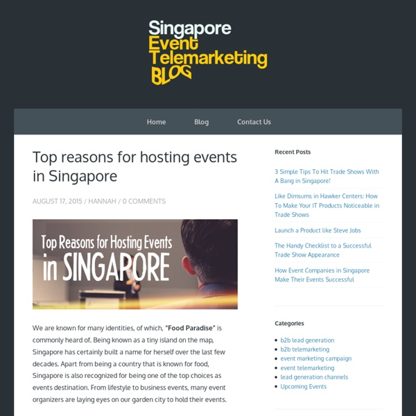 Top reasons for hosting events in Singapore