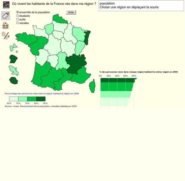 Population - Recensement 2008 - Où vivent les habitants de la France nés dans ma région ?