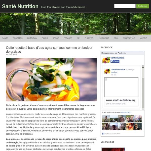 Cette recette à base d'eau agira sur vous comme un bruleur de graisse - Santé Nutrition
