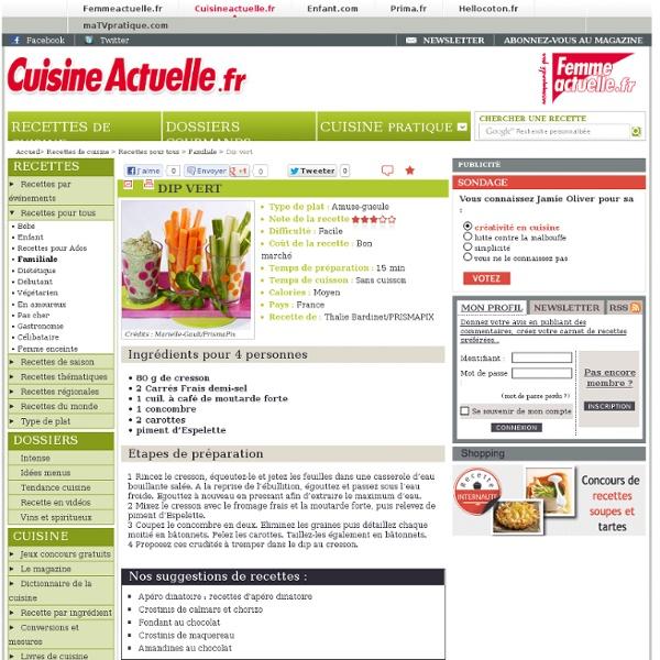 Dip vert : recettes de Dip vert