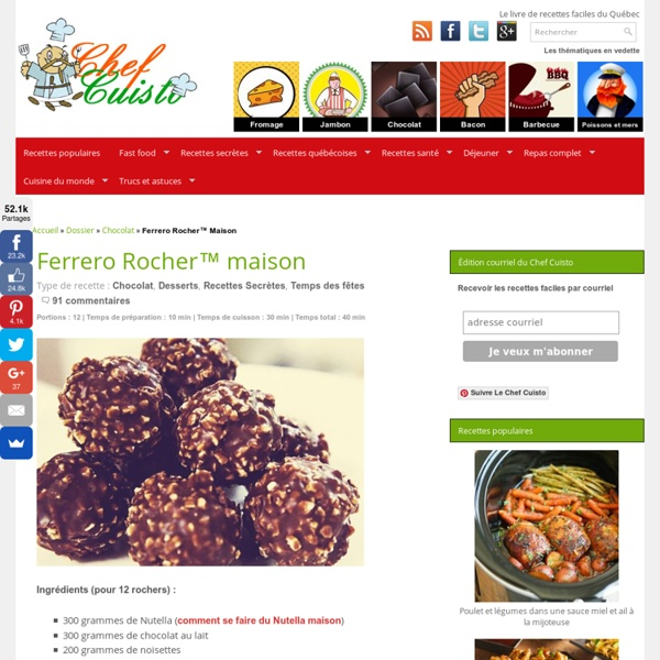 Recette de Ferrero Rocher maison toute simple et rapide à faire