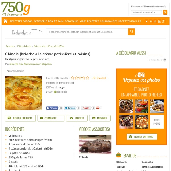 Chinois à la crème patissière et raisins