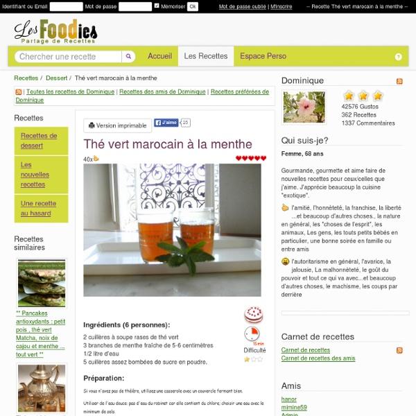 Recette de Thé vert marocain à la menthe
