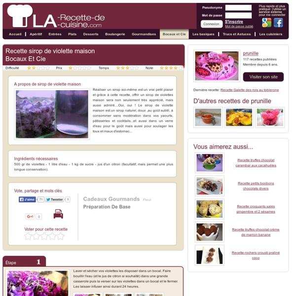 Recette sirop de violette maison, la meilleure recette de cuisine des recettes de sirop de violette maison