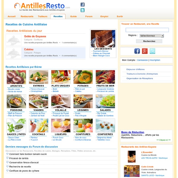 Recettes antillaises pour les gourmets aimant la cuisine creole