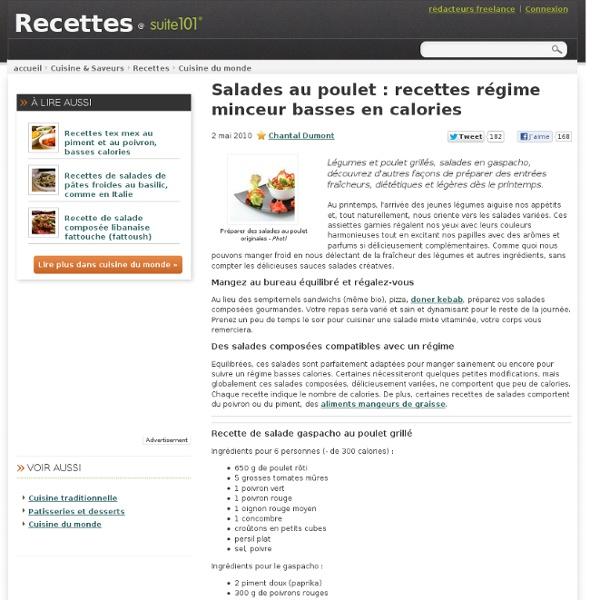 salades au poulet recettes r gime minceur basses en calories pearltrees. Black Bedroom Furniture Sets. Home Design Ideas