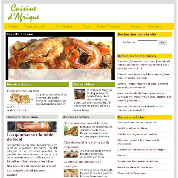 Recettes de cuisine. Recettes de cuisine d'Afrique