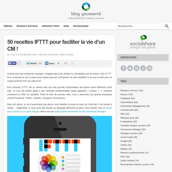 50 recettes IFTTT pour faciliter la vie d'un CM !