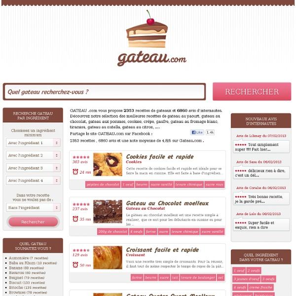 GATEAU .com : 2353 Recettes de Gateaux et 7650 Avis d'internautes
