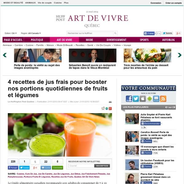 4 recettes de jus frais pour booster nos portions quotidiennes de fruits et légumes