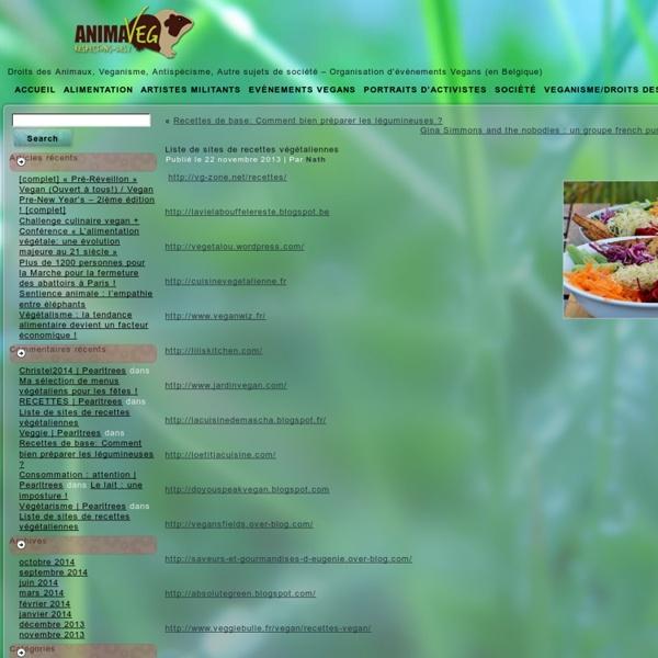 Liste de sites de recettes végétaliennes