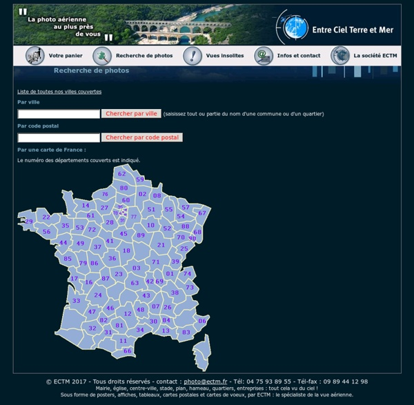 Recherche de photos aériennes par mot clés, carte de France, code postal, gencode