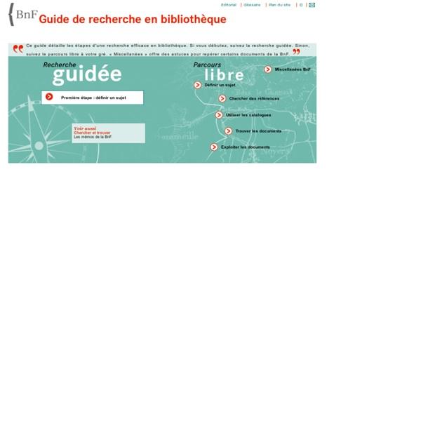 BnF - Guide de recherche en bibliothèque - Page d'accueil