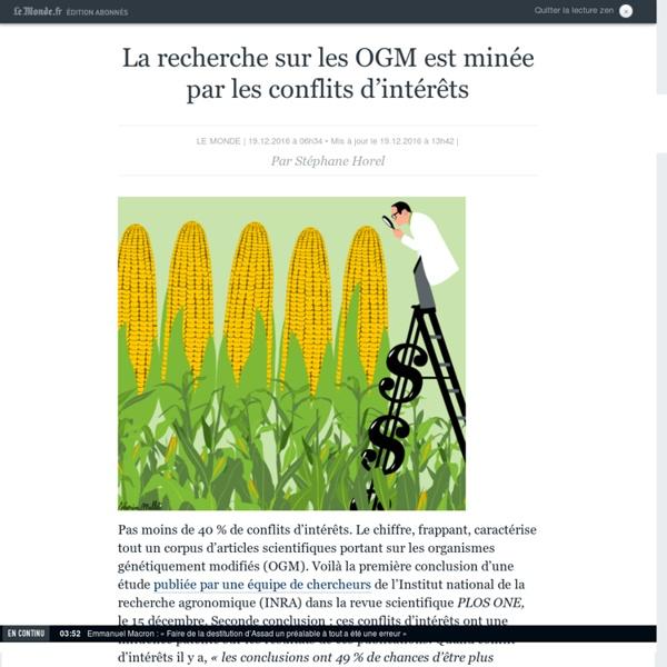 La recherche sur les OGM est minée par les conflits d'intérêts