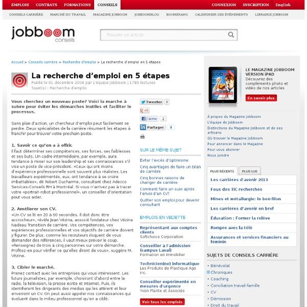 La recherche d'emploi en 5 étapes
