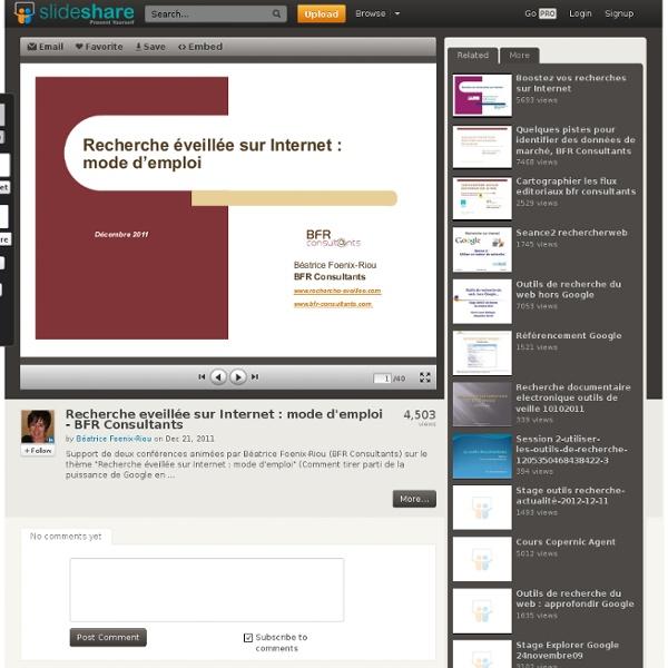 Recherche eveillée sur Internet : mode d'emploi - BFR Consultants