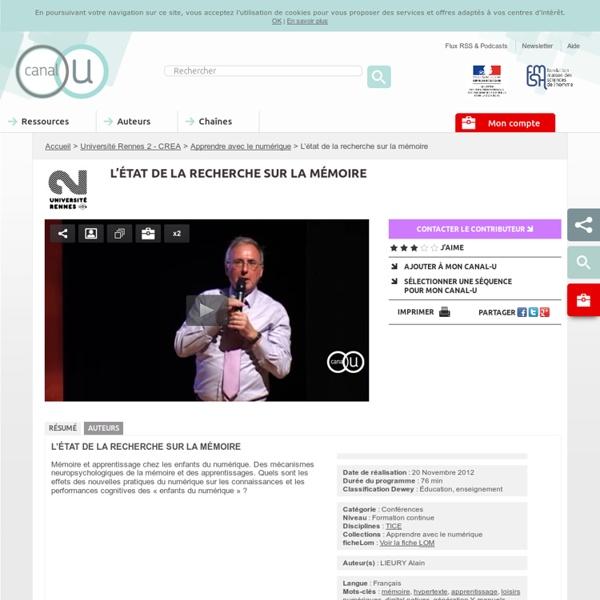 L'état de la recherche sur la mémoire - Université Rennes 2 - CREA