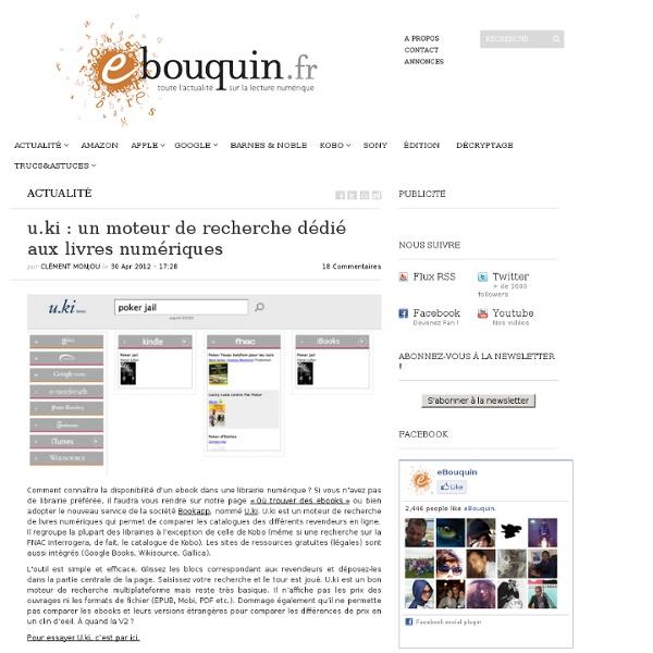 RT @sirchamallow u.ki : un moteur de recherche dédié aux livres numériques  &