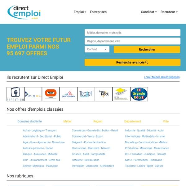Recherche d'offres d'emploi, de stage et d'alternance sur Direct Emploi