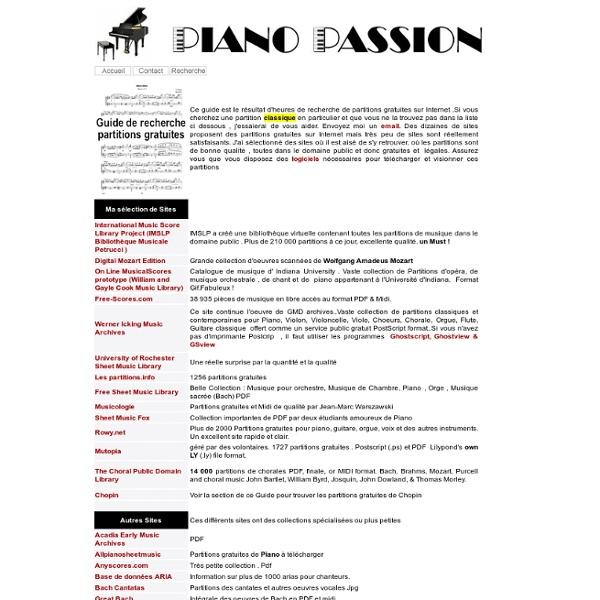 Guide de recherche de partitions gratuites sur internet