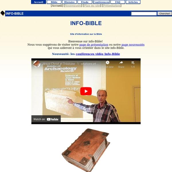 La Bible (lecture et recherche en-ligne, télécharger gratuit, étude biblique) [info-bible]